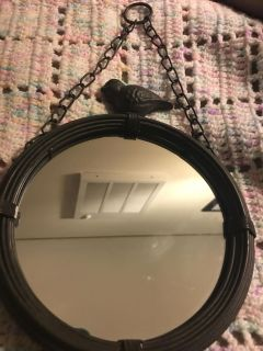 Cute little mirror made out of metal from the top of bird 8 side to side 6 1/2 Poms