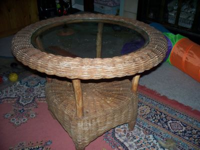 Wicker glass top patio table