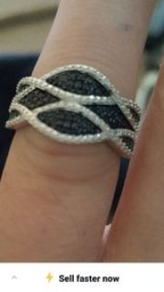 black and white diamond swirl ring
