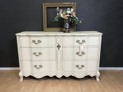 French Provincial Dresser buffet entertainment center nursery cream