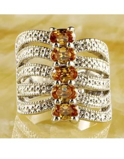 925 Sterling Silver Stamped OvalCut Morganite Ring