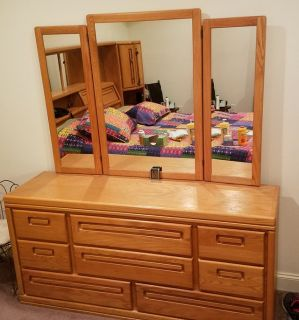 HEADBOARD (KING-SIZE), DRESSER AND CHEST OF DRAWERS