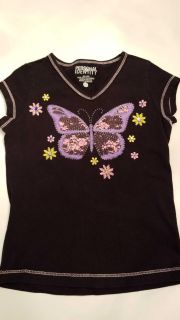 PERSONAL IDENTITY BLACK SHIRT WITH BUTTERFLY AND FLORAL