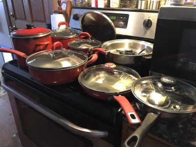 Pots and pans, egg poacher, and electric skillet