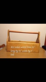 Solid wood box with handle