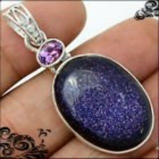 New - Sparkling Natural Navy Blue Sun Star Gemstone and Amethyst 925 Sterling Silver Pendant (In...