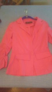 Love Culture Brand Nice Coral Jacket blazer Lightweight Cotton Size small peplum and nice darts to give curve on back