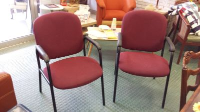 (2) Globe Matching Burgundy Fabric Padded Seat & Back Stack Chairs