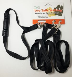 Furhaven Pet Two Tails Walking Double Dog Pet Leash in Black
