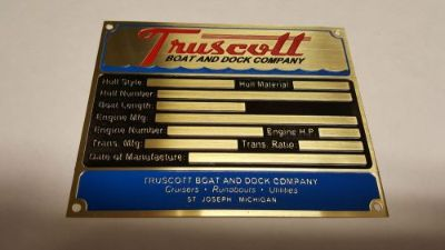 Find Truscott Boat Data Plate Acid Etched Brass St. Joseph Michigan motorcycle in Veradale, Washington, United States, for US $235.00