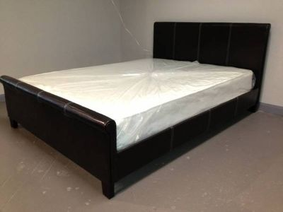 Queen sleighstyle bed plus mattress and box