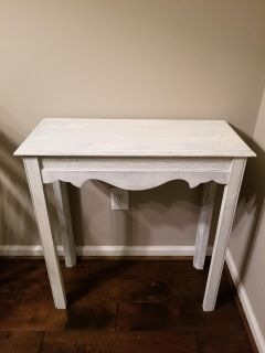 White-Washed Wood Side Table