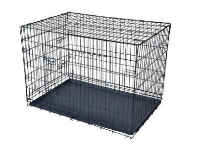 """Black 30"""" Pet Folding Dog Cat Crate Cage Kennel w/ABS Tray LC New!"""