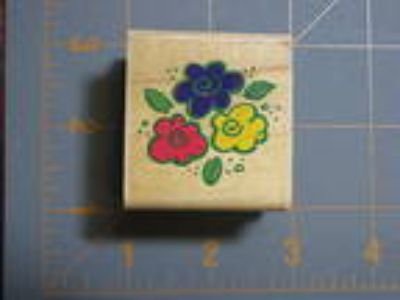 "Stampabilities ""Three Flowers"" rubber stamp D-1007"