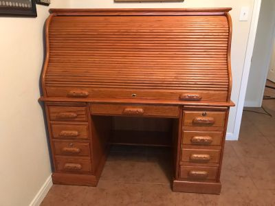 Solid Wood Roll Top Desk