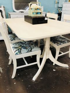 Ivory table and 4 chairs