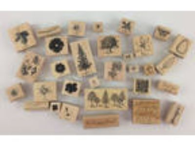 Stampin' Up! Lot 30 Rubber Mounted Wooden Stamps Leaf Flower