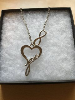 Silver 20 heart/infinity/Jesus necklace