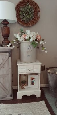 Vintage - chippy white - shabby chic - farmhouse - white side table / furniture piece