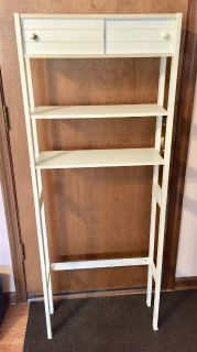 Over the Toilet Wood Space Saver White shelving Unit