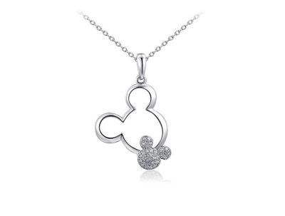 New Womens Mickey Mouse Double Drop Necklace in Silver