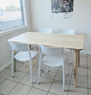 IKEA Lisabo/Janinge table and 4 chairs, ash veneer/white, dining room