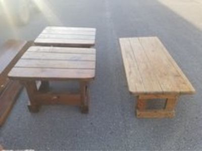 Wood Coffee Table and End Tables