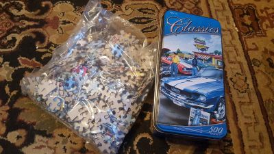 Classic Car Puzzle with tin container