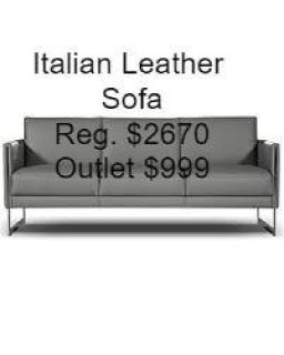 Giuseppe Nicoletti Coco Leather Sofa Reg. $2670. Outlet $999 <==WOW