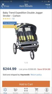 Double jogger stroller expedition lx