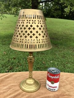 Vintage Brass Candle Holder Lamp with Brass Shade