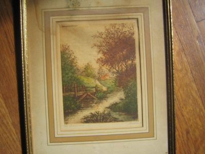 Vintage Paris Etching Society Framed Colored Etching Art SIGNED by Pierre