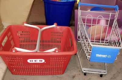 Kids shopping cart and basket also microwave