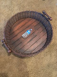 Awesome 30 inch xxl basket tray! Pretty sure it s pottery barn ! Can be hung also !