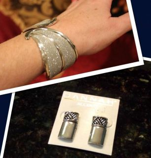 SILVER SUPER SPARKLY BRACELET & SILVER EARRING (about the size of a dime) BOTH $6.00