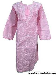 Womens Indian Tunic dress Women's Pink Embroidered caftan Lounger boho Clothing