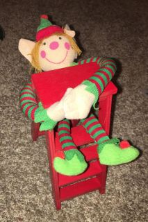 """AB MEET - 7"""" RED WOODEN LADDER WITH ELF - New!"""