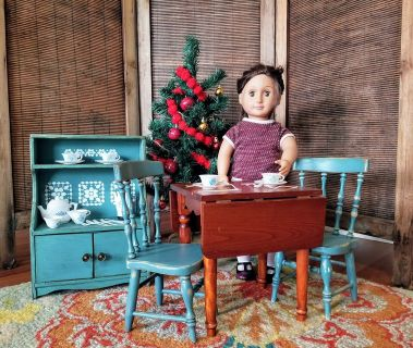 Doll Size Refurbished Table Set, Hutch, and Corning Ware