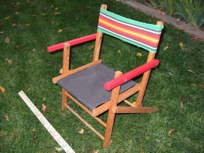Antique 1960s Child's wooden folding lawn chair