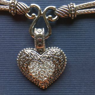 Lia Sophia Love Dust Necklace with Crystal & Silver Heart Pendant