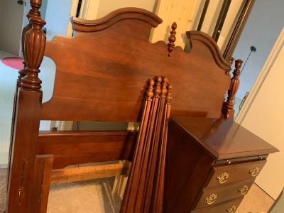 Solid wood four poster bed and dresser