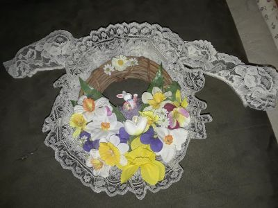 Bunny Wreath w Flowers and Lace. Handcrafted. Sm and adorable!