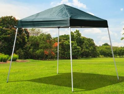 Disassembled Dark Green Square Shade Canopy - Easy Pop Up Tent - white metal posts & top is made of tarp material - Great condition
