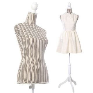 Costway Female Mannequin Torso Dress Form Display W/ White Tripod Stand