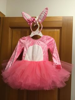 Gymboree velour bunny leotard with tulle tutu skirt, detachable cottontail and headband size 4t-5t, like new