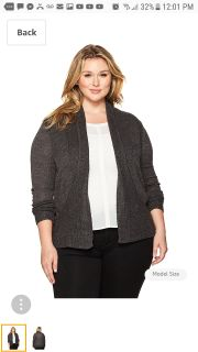 New NWT womens charcoal gray cardigan sweater size 1X