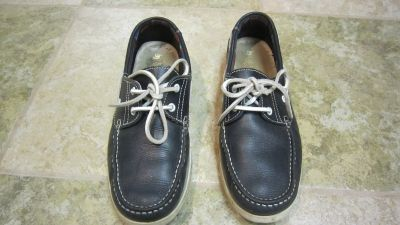By Lagarto Men's Navy Leather Lace Up Boat Shoes Size 8
