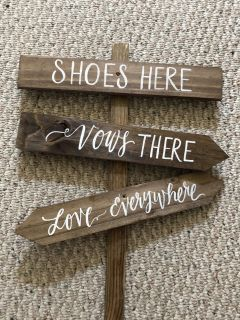 Beach wedding sign shoes here