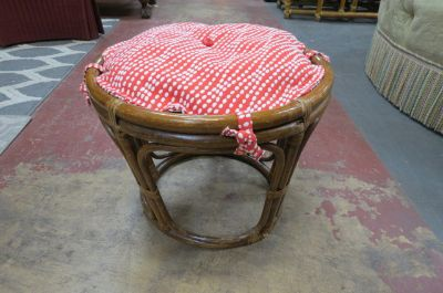 Vintage Antique rattan round footstool, c. 1950.