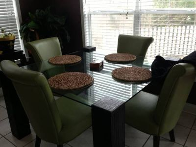 Glass table custom lime chairs